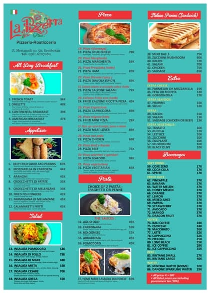 Menu Italian Food Bali La Pizzetta